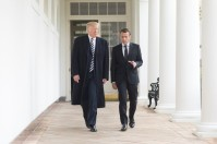 President Donald J. Trump and French President Emmanuel Macron walk together to the Oval Office at the White House, Tuesday, April 24, 2018, in Washington, D.C. Official White House Photo by Shealah Craighead